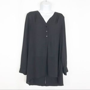 White House Black Market semi sheer black top 4
